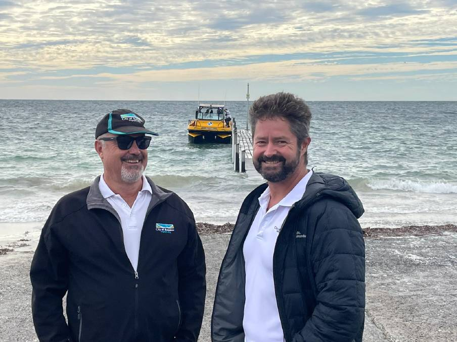 City of Busselton mayor Grant Henley and councillor Paul Carter with Nauti-Craft's Suspension Boat 2Play.